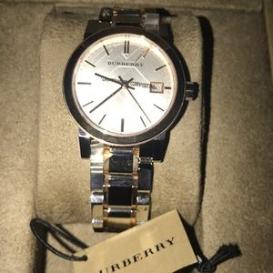 NIB Women's BU9105 Two-Tone Check Wristwatch